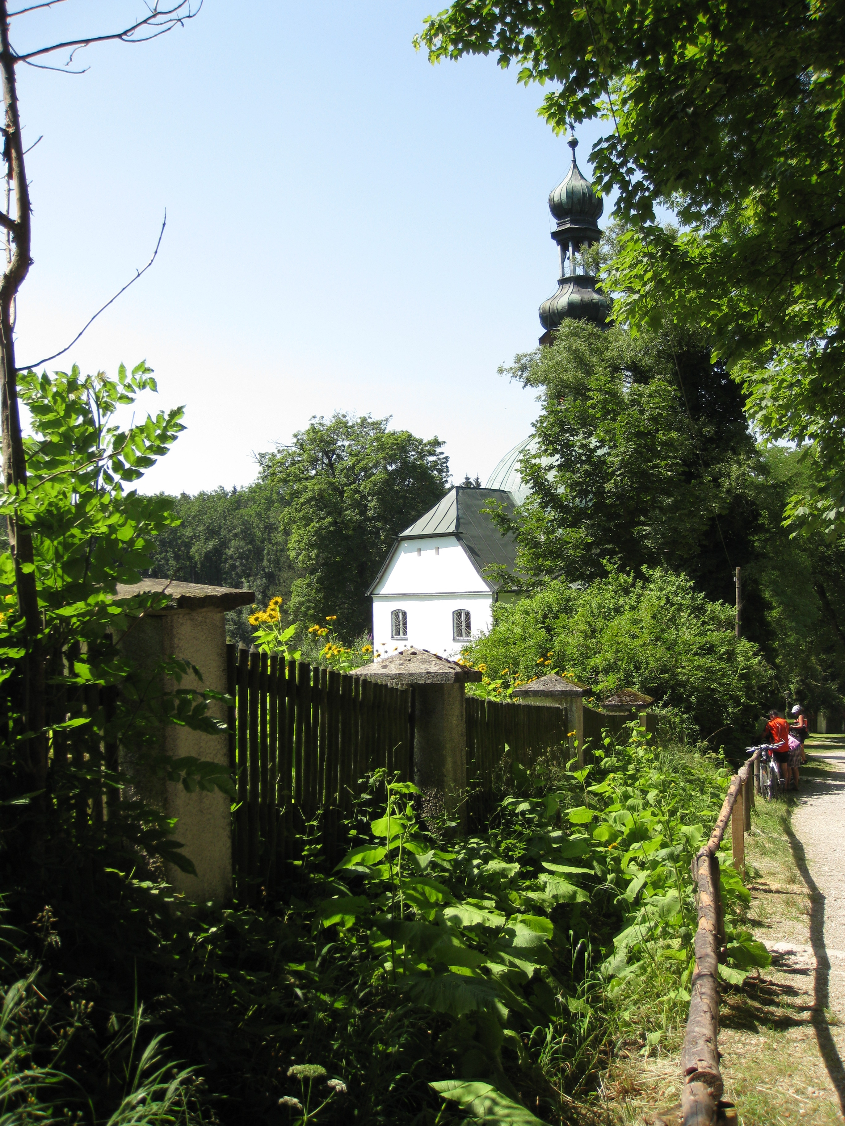 Chapel Mariabrunn, photograph shows path and fence with trees