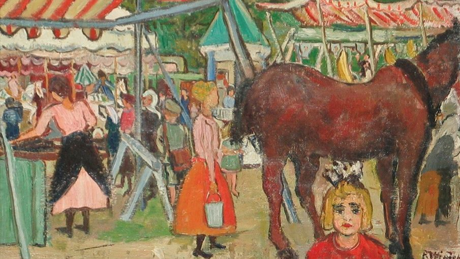"Painting by Paula Wimmer, named ""Dachau Funfair"" showing people and a horse at the dachau country fair"