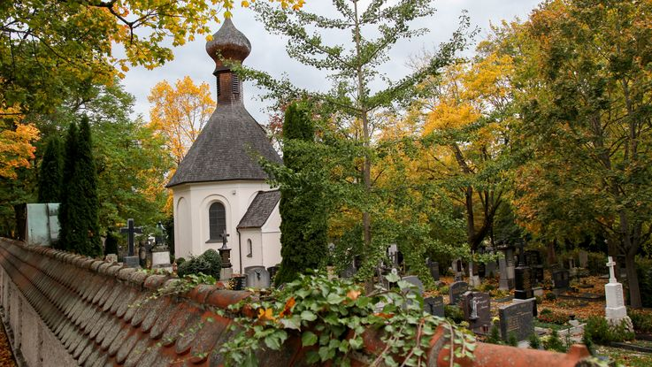 Old cemetery Dachau: Chapel and graves under big trees with fall leef colours. Photo: City of Dachau