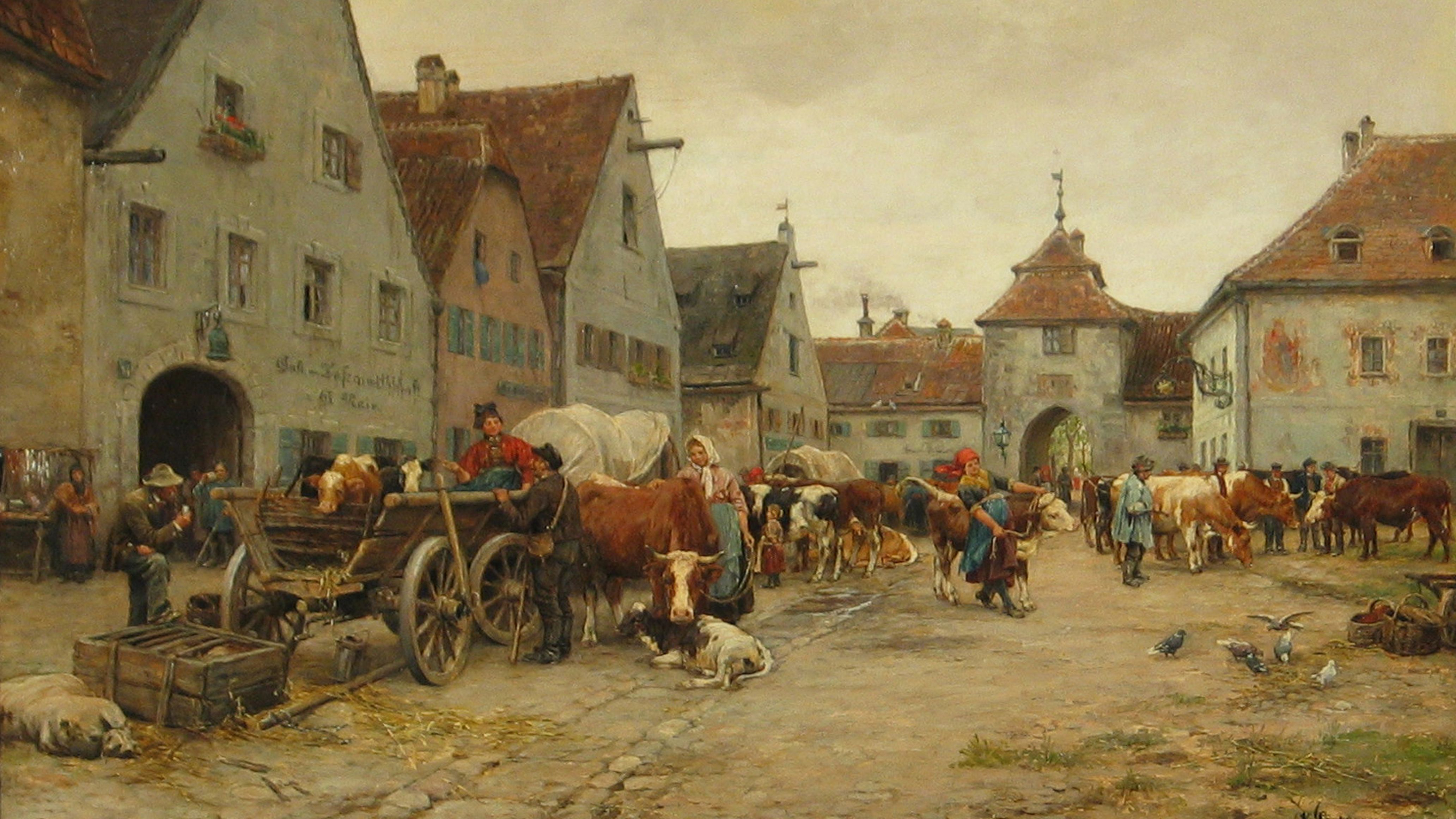 "Painting by Karl Stuhlmüller, ""Unterbräu, the lower brewery, with Augsburg Gate"""