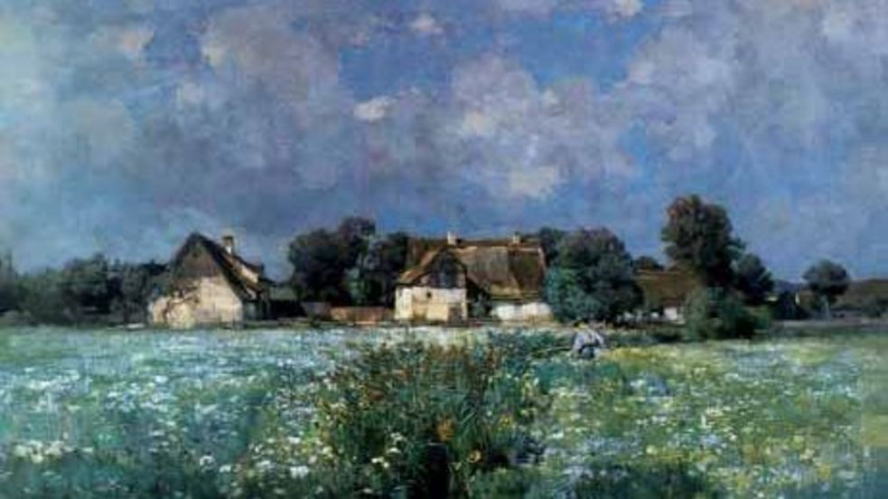 "Oilpainting by Georg Flad, ""Light Midsummer Clouds over Blooming Meadows in old Etzenhausen"""
