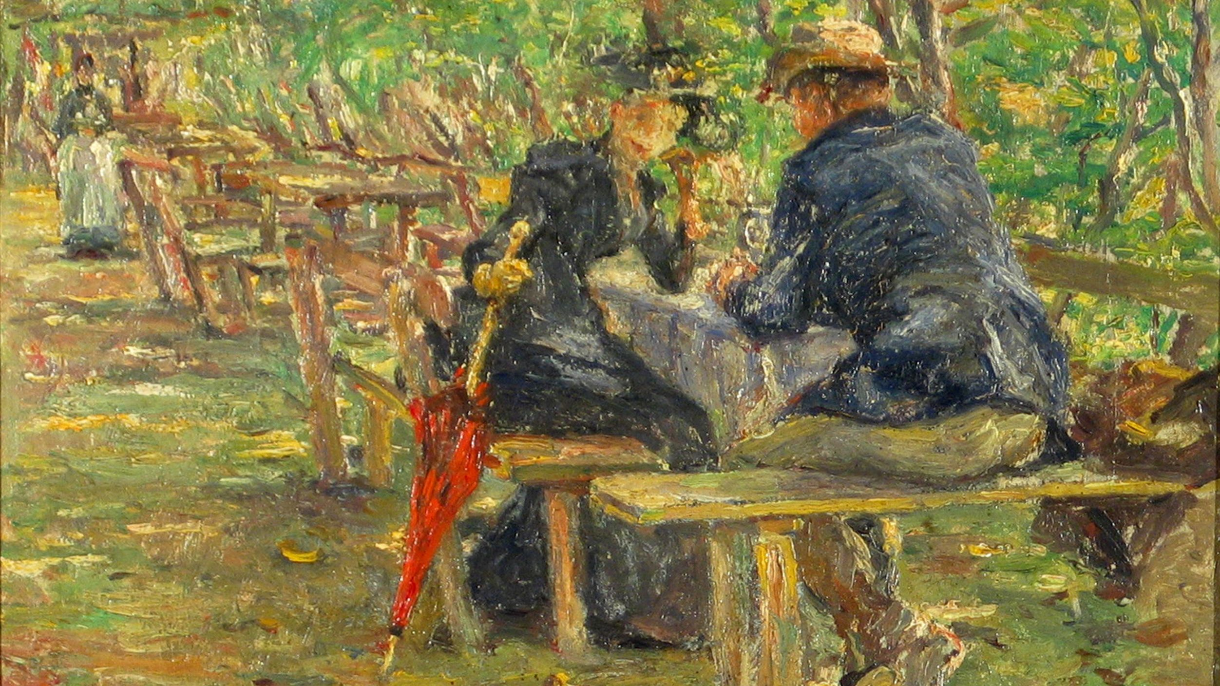 "Painting by Adolf Hölzel, ""In the beer garden of the old shooting range"""