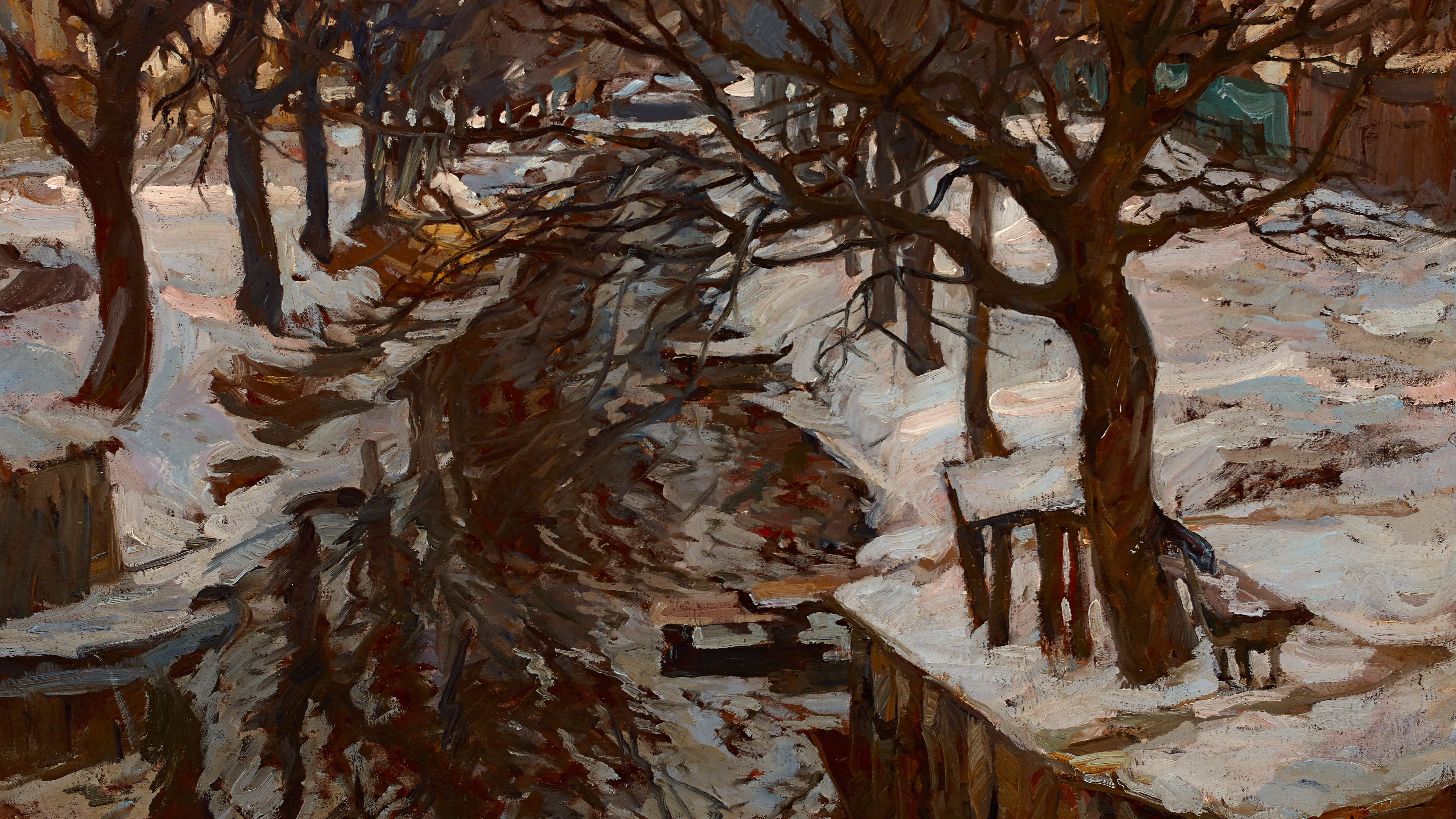 "Painting by Hans von Hayek named ""Schleissheim Canal in Winter"""