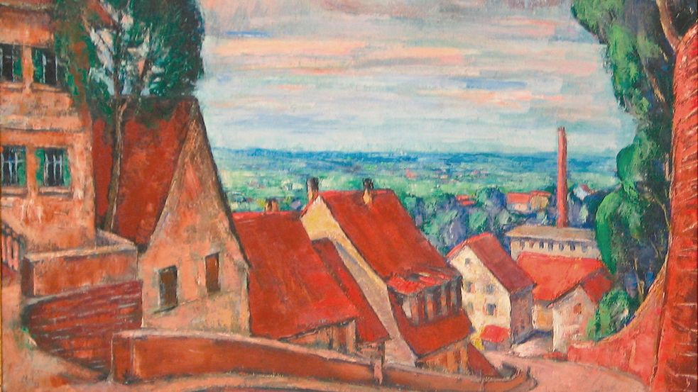 Oil painting by Jean Lehmann, reddish colored view Dachauer Karlsberg