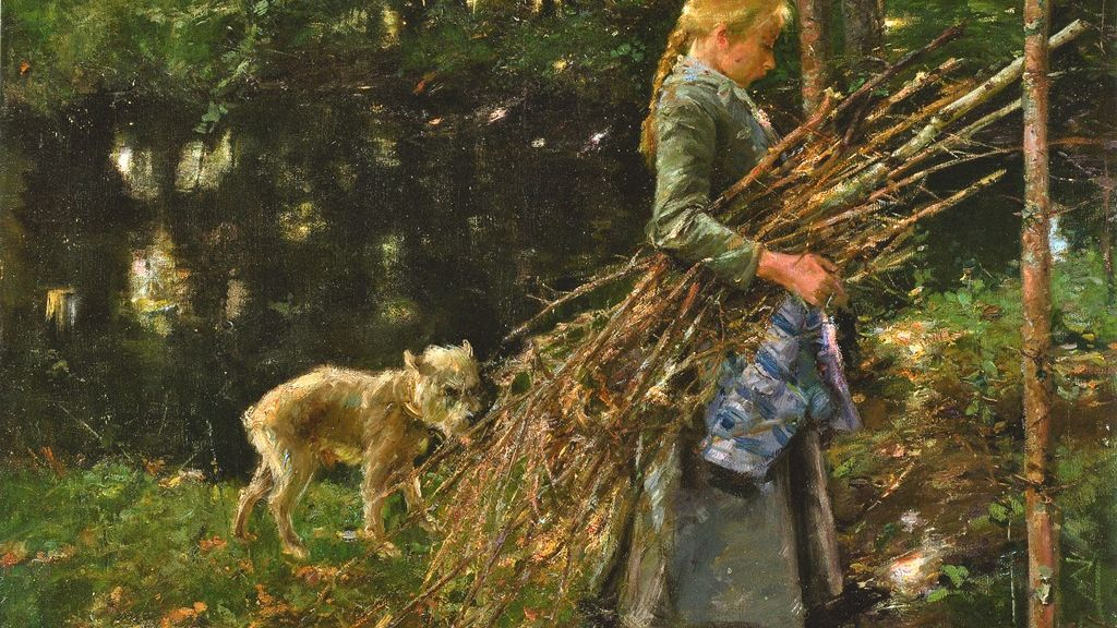 Oilpainting by Arthur Langhammer, girl with bundle of brushwood, accompanied by a small dog.