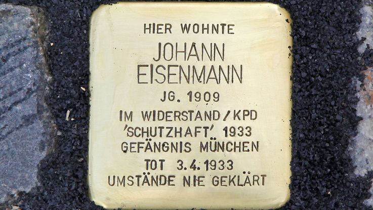 Stumbling block in memory of Johann Eisenmann, Photo: City of Dachau