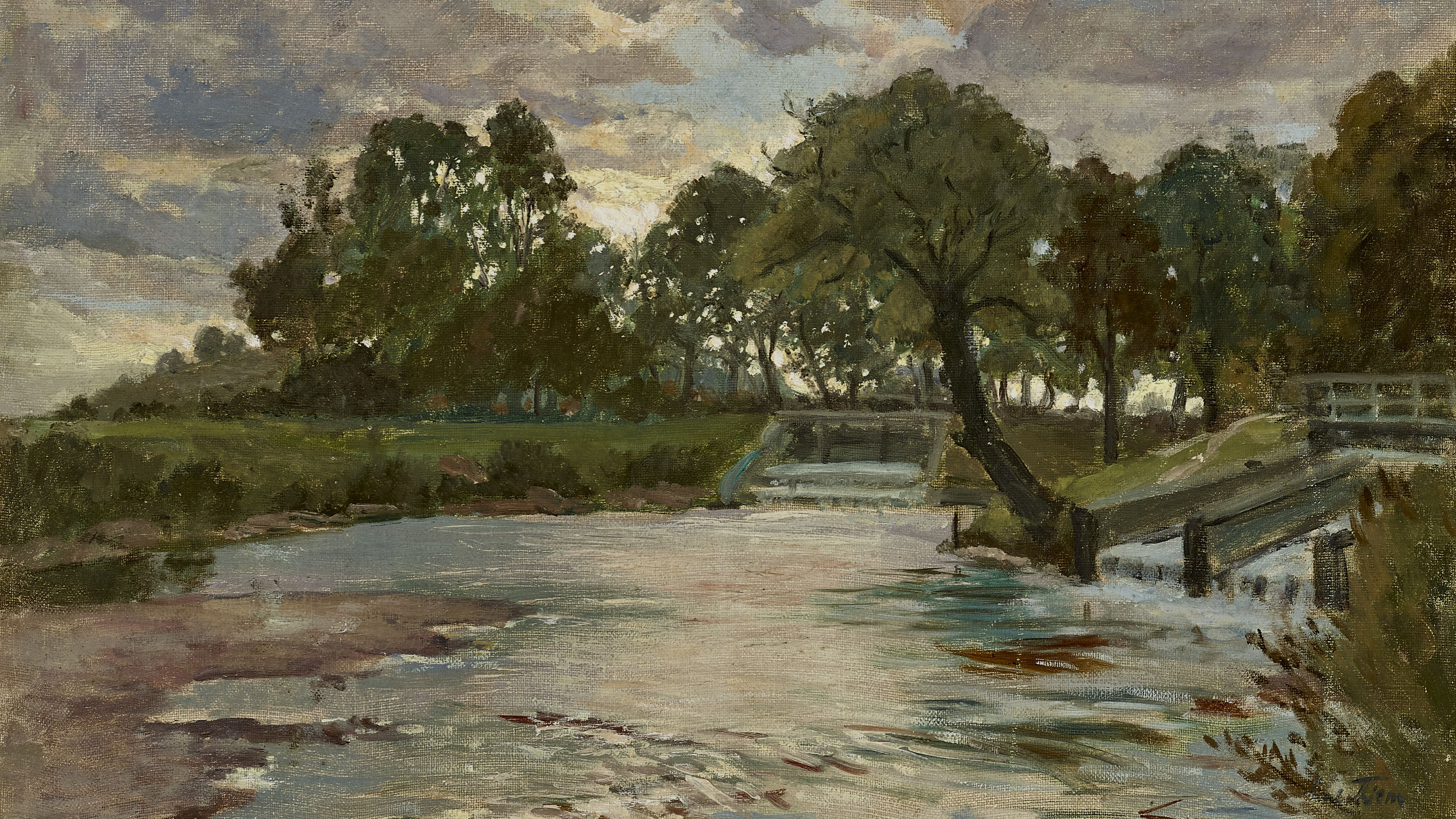 "Painting by Paul Thiem, ""Evening at the sluice on the River Amper weir"""