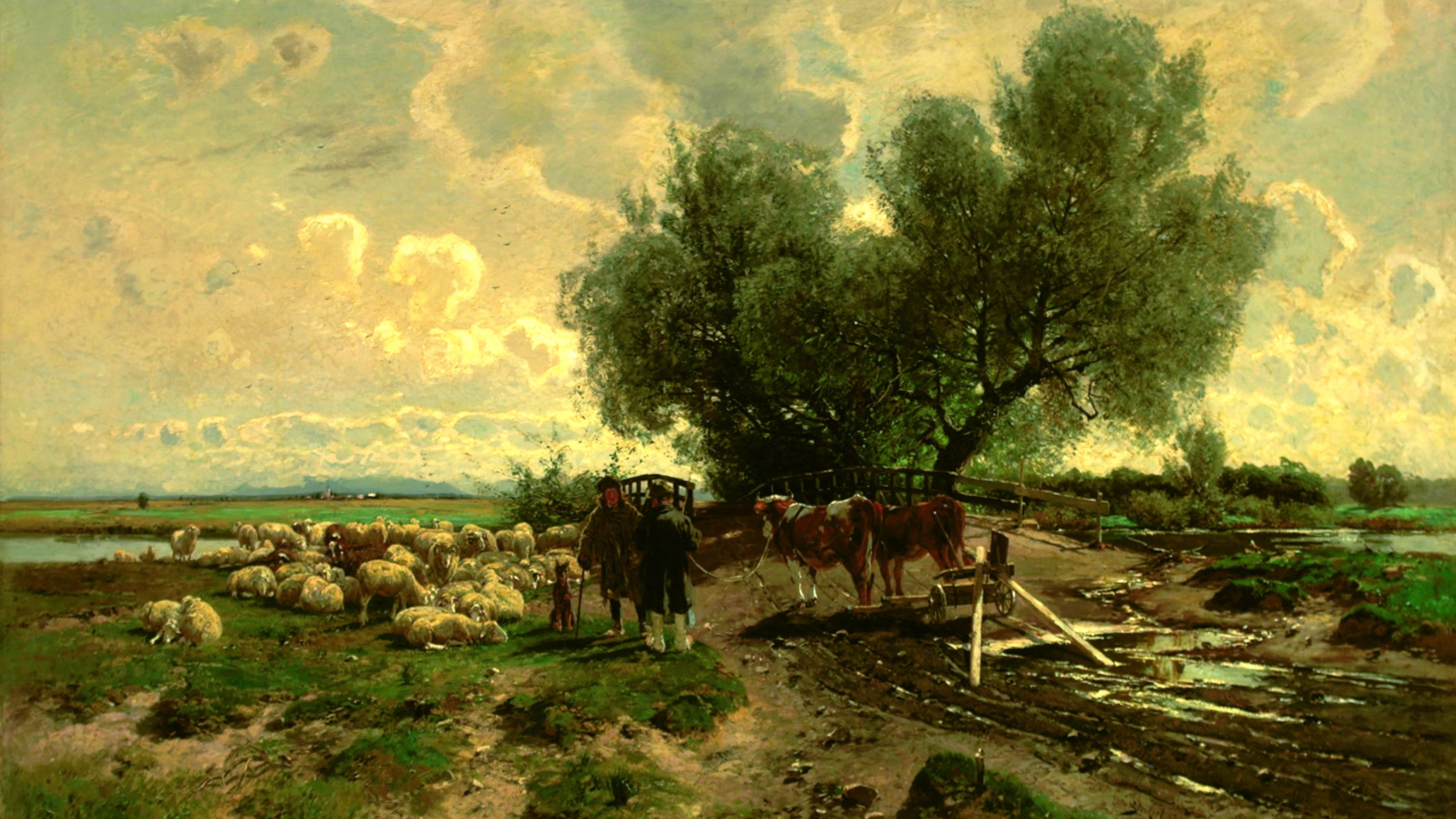 "Painting by Otto Strützel,  ""Amper bridge near Mitterndorf"" shows shepherd with herd of sheep and farmer with 2 cattle at wooden bridge over the river Amper"