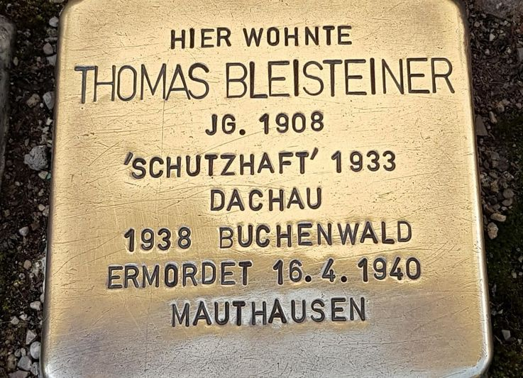 Stumbling stone in memory of Thomas Bleisteiner