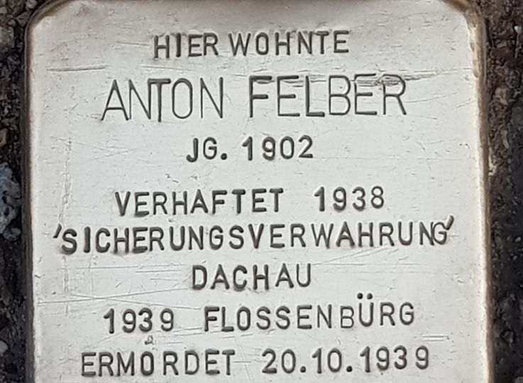Stumbling stone Anton Felber in Dachau