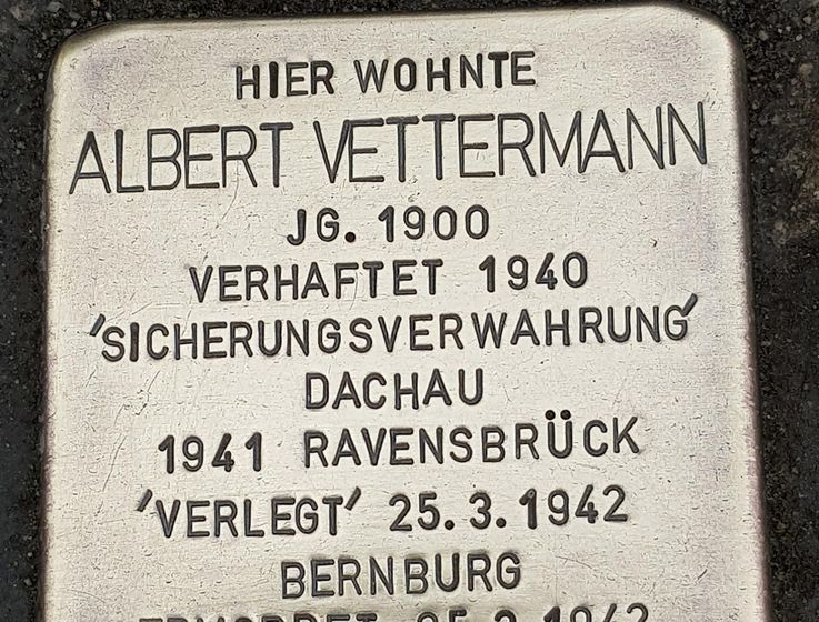 Newly laid memorial stone, the so-called Stumbling Stone in memory of Albert Vettermann