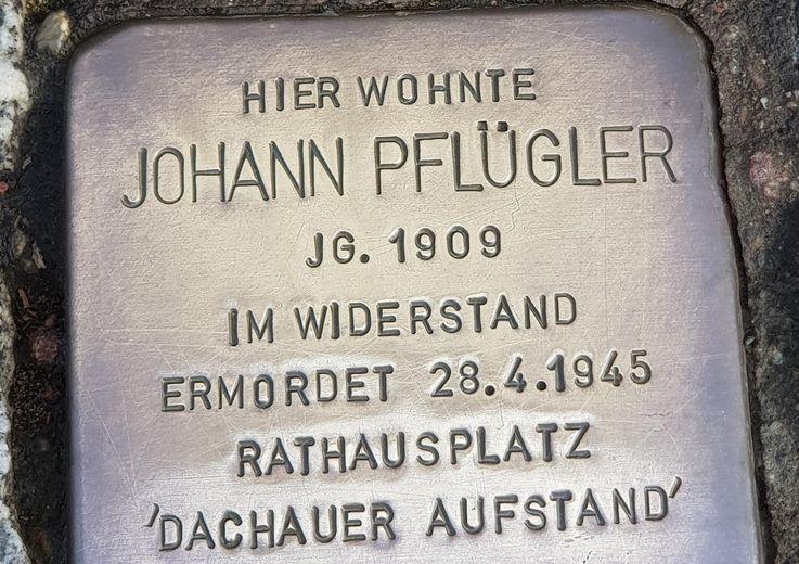 Stumbling stone in memory of Johann Pflügler in Dachau