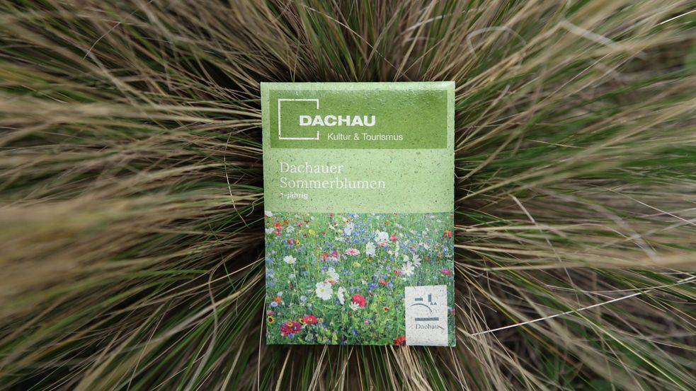 Small sachet of Dachau summer flower mixture in the middle of a decorative grass tuft